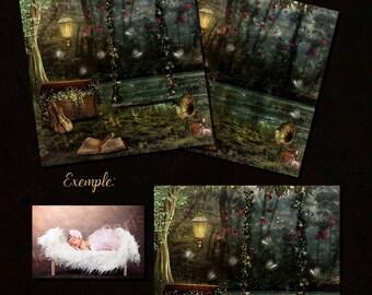 Enchanted forest digital background / Digital Backdrop for photographers / digital prop  2 versions. Instant download.