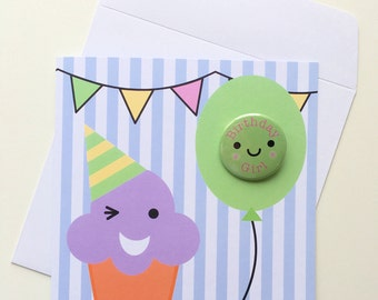 Cupcake and Balloon Kawaii Birthday Card