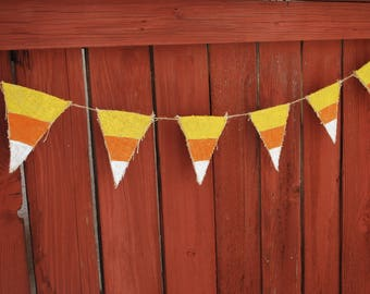 Candy Corn Halloween Burlap Banner. Halloween Decor