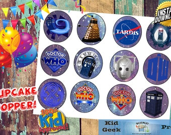 Doctor Who Birthday Party Cupcake Toppers!