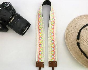 NuovoDesign unique and stylish cream fringed ethnic style Camera neck strap