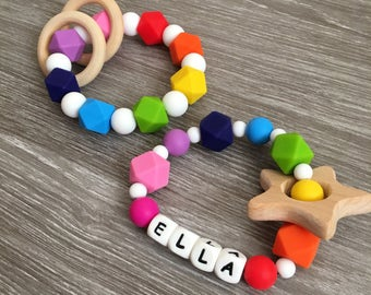 Personalised name silicone teether, teething toy, jewellery, new baby, baby shower gift, sensory toy, breastfeeding, baby wearing, rainbow
