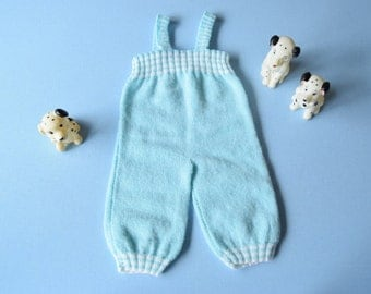 Vintage 70's / baby / overalls / hand made knit / light blue and white