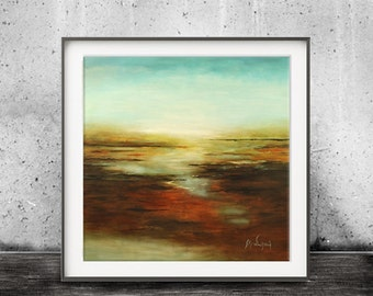 Seascape Printable Art Digital Download Print Ocean Blue Earth Tones Modern Abstract Art Contemporary Painting Interior Design Landscape