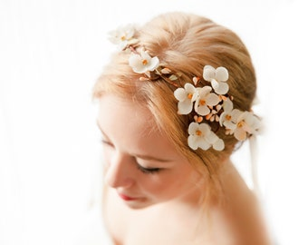Ivory and apricot blush crown, bridal crown, brides wreath, floral bride crown, topaz and apricot, gold and blush crown, ivory halo