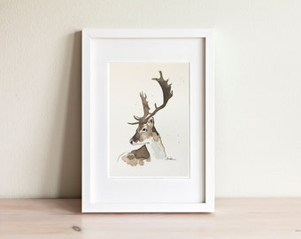 Deer watercolor illustration - handmade