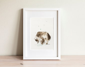 Illustration ours brun, brown bear Illustration / fait main, handmade