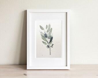 Illustration olivier,  olive leaf illustration / fait main, handmade