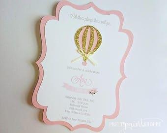 Hot Air Balloon invitation, pink and gold Air balloon birthday invitation, first birthday party, pink hot air balloon