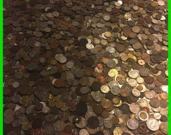 One 1 Full Lb Pound Foreign Coins~Old Unsearched World Money Silver Bonus Lot~