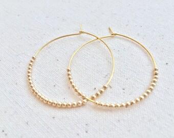"""Bella gold-filled beaded 1.5"""" hoop earrings"""