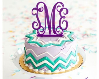 Monogram Cake Topper/ Acrylic Cake Topper/ Initial Cake Topper/ Cake Topper/ Wedding Cake Topper/ Birthday Cake Topper/ Many colors!