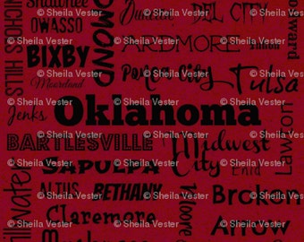 Oklahoma Cities fabric - by the yard - red and black - gray and black