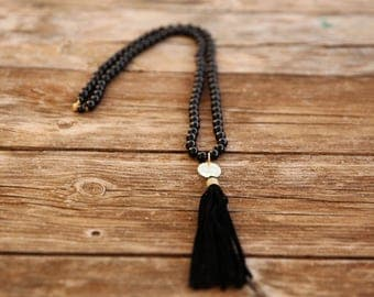 Long black necklace, Long beaded necklace, Bead necklace, Yoga Beads, black necklace, Long necklace, black tassel necklace