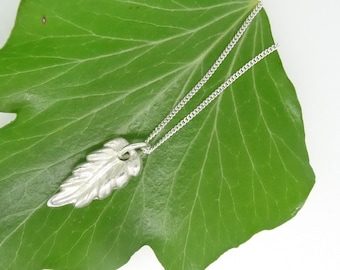 Silver Feather Necklace, Pure Silver Feather Pendant,Sterling Silver Chain, Silver Feather,Silver Feather Charm,Birthday Gift,Handmade,Gift