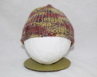 Hand Knitted Infant Hats - Olive/Grey/Orange