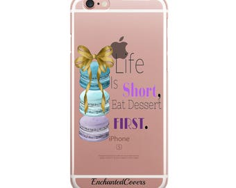 Macaroons iPhone Case, Inspirational Quote, Cute iPhone Case, Pretty Phone Case, Dessert Phone Case, Bow iPhone Case, Gel iPhone Case