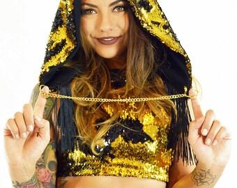 Festival Hood flip sequin JBeka rave wear hood
