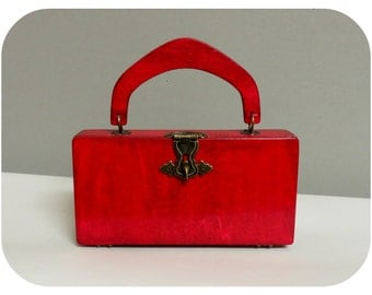 RESERVED   Vintage purse 40's /50's style red wood
