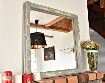 Mirror from an old window frame French Country shabby chic blue Country old wood farmhouse loft  wall decor cottage chic white