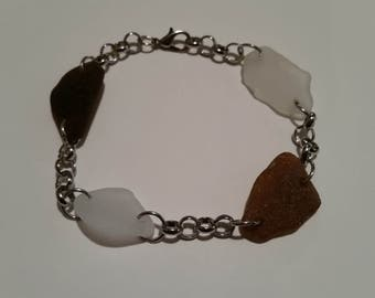 White and brown sea glass bracelet