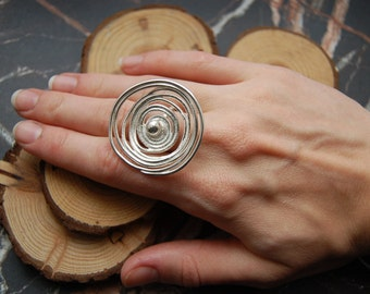 Silver 'Tempest' swirl ring