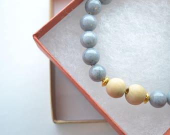 Gold Meditation Essential Oil Diffuser Gemstone Bracelet