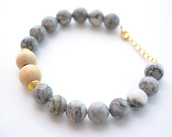 Gold & Grey Meditation Essential Oil Diffuser Gemstone Bracelet
