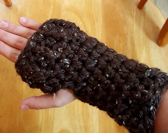 SALE!!! Fingerless Texting Mittens in Speckled Brown--ready to ship!