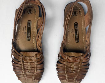 Vintage Leather Woven Shoes