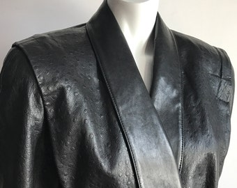 Reserved - Grace Jones' Georges Dan S/M Black Genuine Ostrich Embossed Leather Double Breasted Jacket Extreme Shoulder Toxedo 80's