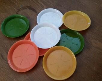Set of 8 Coasters!  Vintage 1970's Plastic Coasters set of 8 Harvest/Fall colors