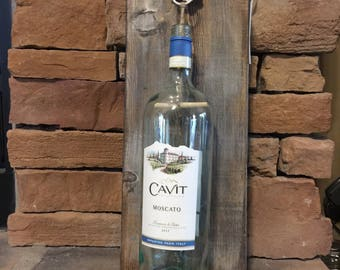 Recycled wine bottle plaque