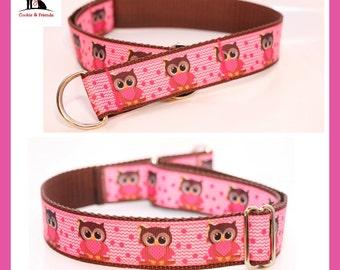 "Dog collar ""OWL pink"" train stop collar, metal buckle, plastic buckle"
