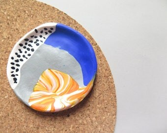 Trinket dish, ring dish, desk decor, small bowl, memphis design inspired, polymer clay, jewelry storage, clay dish