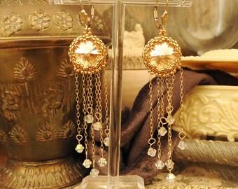 Gold Earrings, Crystal Earrings, Elegant Earrings, Dangle Earrings, Drop Earrings, Gold filled Earrings, Beaded Earrings, Swarovski Earrings