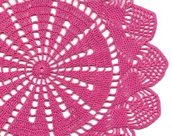 Vintage Handmade Crochet Doily Lace Lacy Doilies Wedding Decoration Home Decor Flower Romantic French Style Crocheted Pineapple Round Pink