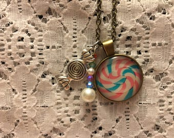 Candy Swirl Charm Necklace/Candy Necklace/Candy Jewelry/Sweets Necklace/Taffy Necklace