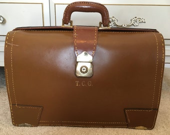 Vintage Leather Briefcase 60s, 50s, Round-top valise-style doctor's bag