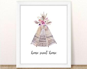 PRINTABLE Home Sweet Home Teepee Wall Art, Watercolor Boho Tribal Teepee, Nursery Wall Decor, Girl Nursery, Boho Nursery, Tribal Floral
