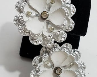 Beautiful & Unique Flower Screw Back Earrings, Accented with Rhinestones Made in Germany