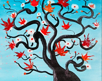 Large canvas art modern colourful tree spirits painting