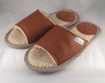 Women slippers, brown slippers, leather slippers, wool slippers, slippers for women, open toe slippers, female slippers, women house shoes