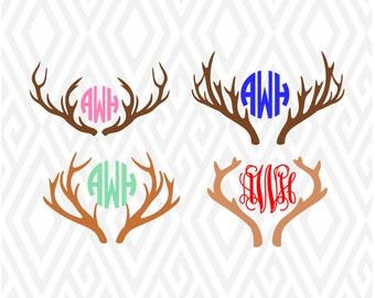 Deer Antlers Monogram Cuttable Design in SVG; DXF; PNG; Ai; Pdf; Eps