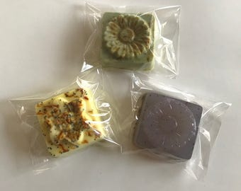 Flower Soaps, exfoliating, conditioning, soothing, invigorating