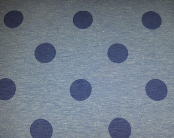 Cotton Jersey print polka dots blue