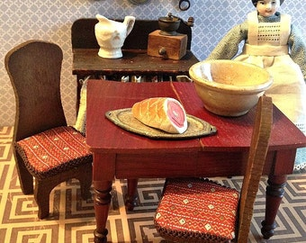 Antique Vintage Miniature Pair of Dark Stained Side Chairs for Dollhouse