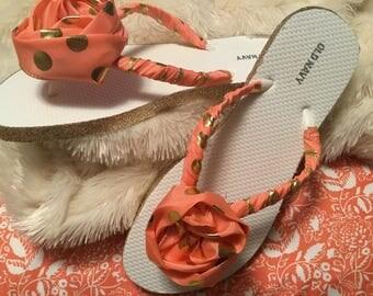 Woman's Sandals/ Shoes/ Beachwear/ Decorated Flip Flops/ Orange and Gold PokaDot/ Summer Sandals/ Ribbon Rose Sandals