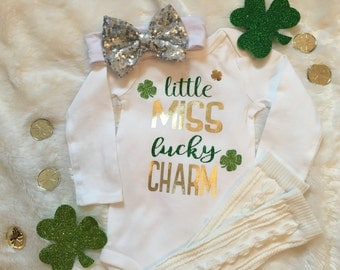 Little Miss Lucky Charm St Patrick's Day Infant Bodysuit or Toddler T-shirt