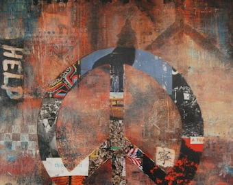 """Imagine, Contemporary 16""""x20"""" Gallery Wrapped Canvas, peace symbol, browns and reds"""